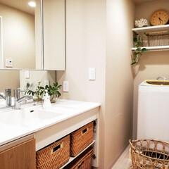 洗濯機周り/洗面台収納/洗面台/収納/アイデア/DIY/... 洗面台の収納をピックアップしていただきま…