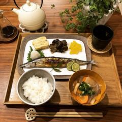 晩御飯/手作り/和食器/和食/南部鉄器/秋刀魚/... 今日のご飯は秋刀魚でした🍚 ロハスで見つ…