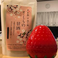 子供からのプレゼント/母の日 長女から甘酒、次女からイチゴの容器のハン…