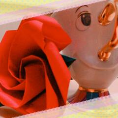 ディズニー/折り紙/薔薇 チップと魔法の薔薇で写真を撮ってみた。 …