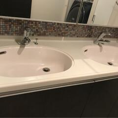 タイルシート/浴室・風呂/洗面所リメイク/洗面所インテリア/インテリア/DIY/... 洗面所の奥にモザイクタイルを貼りました。…