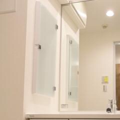 ニッチ/洗面室/洗面台/洗面収納 洗面台の横にニッチを造作。