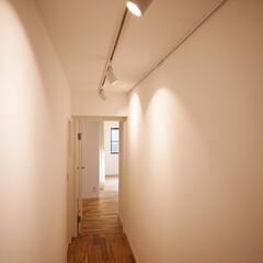 ガイナ/塗装/レール/スポットライト/無垢フローリング/アカシア ガイナ塗装を施した白い壁と天井の廊下。 …