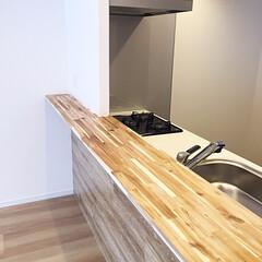 集成材/キッチンカウンター/造作 集成材で造作したキッチンカウンター