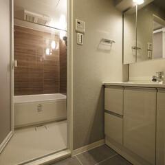 洗面台/バスルーム/淡い木目調/ブラウンのバスルーム 淡い木目調の洗面台と落ち着いたダークブラ…