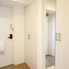 玄関/玄関収納 収納棚とシューズボックスを設置した玄関。