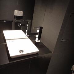 洗面台/水栓/デザイナーズ ダークグレーの内装と白い洗面台