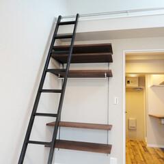 オープン収納/可動棚収納 ロフトの階段下に可動棚収納を造作。