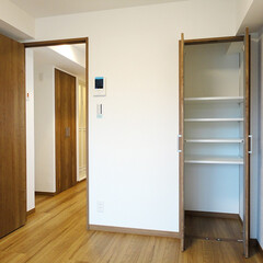 収納棚/フローリング/1K/一人暮らし クローゼット以外に収納棚もある洋室。