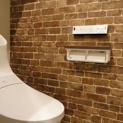 トイレ/アクセントクロス/レンガ調 レンガのアクセントクロスを貼ったトイレ。