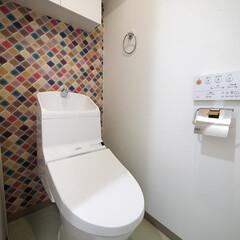 トイレ/モザイクタイル モザイクタイルで彩り豊かになったトイレ。