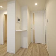 リビングダイニング 廊下につながる扉も白で統一。