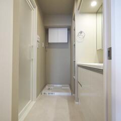 洗面室/バスルーム/水まわり ベージュとグレーの落ち着いた色合いの水回…
