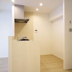キッチン/ダウンライト/白いキッチン 白で統一した清潔感のあるキッチンスペース。