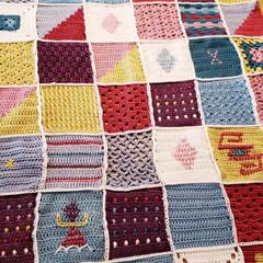 モチーフ編み/かぎ針編み/ブランケット/ハンドメイド モチーフ編みをつなげて、ブランケットを作…(2枚目)
