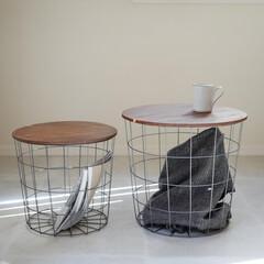 見せる収納/収納/ワイヤーバスケット/サイドテーブル/テーブル/雑貨/... アンティーク雰囲気がお洒落なテーブルバス…