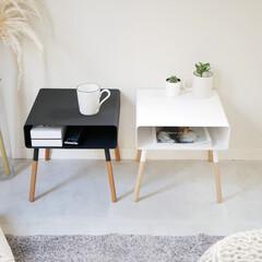 ミニマム/机/テーブル/サイドテーブル 便利な収納付きのローサイドテーブル  低…