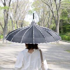 雨の日コーデ/長傘/紫外線対策/雨/モリーマレ/日傘/... シルエット美人になれる『傘』  ファッシ…