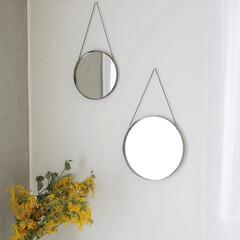 メイクミラー/ディスプレイ/アンティーク/壁面飾り/鏡/ミラー/... 上品なアンティーク感が美しいハンギングミ…(1枚目)