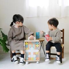 お祝いギフト/贈り物/育児/子供のいる暮らし/積み木遊び/積み木/... 小さなキャリーケースに入ったカラフルな積…