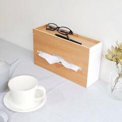 整理収納/ダイニングテーブル/キッチン/小物/ティッシュボックス/ティッシュケース/... 小物が置けるティッシュケースが スリムに…