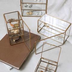 アクセサリーボックス/アクセサリーディスプレイ/アンティークのある暮らし/アンティーク風/アンティーク雑貨/真鍮/... インテリアになる「魅せる小さなショーケー…