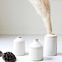 フラワーベース/花瓶/枝物/ドライフラワーのある暮らし/ドライフラワー/お花のある生活/... 落ち着きのある陶器のフラワーベース  自…(1枚目)