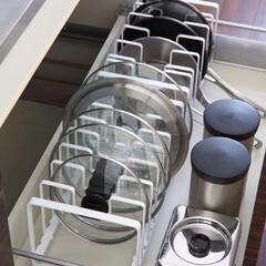 料理器具/YAMAZAKI/キッチン収納/フライパン/フライパン収納/雑貨/... フライパン&鍋蓋スタンドタワー  YAM…