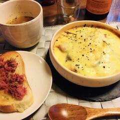 お安めスパークリング/ひよこ豆とセロリのクミンスープ/リンデンバウム京都で買った牛肉と実.../おうちごはん 昨日の夜は夏野菜のグラタンを作りました。…