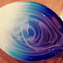 ブルー/プレート/ガラス/インテリア/雑貨 お魚の型した ガラスのプレート  なんで…