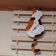 誕生日プレゼント/三毛猫の時計/突っ張り棒/結束バンド/スノコ/石膏ボードの壁/... 娘から貰った誕生日プレゼント✨🎁✨ モコ…
