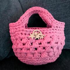 丸洗い/フェレット/編み物/ショルダーバッグ/ハンドバッグ/うさぎ/... ズパゲッティの糸を使い、春らしいカラーの…(6枚目)