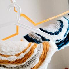 ニット/毛糸/ウィービング/クッション/マット/織物/... ウィービングで作る毛糸のマット2個目完成…
