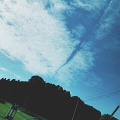 ひこうき雲/空/秋晴れ/フォロー大歓迎/イイね/秋 車でブーンってしてる時に撮った 写真📸 …