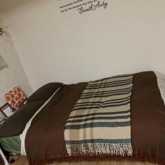寝室/ベットルーム/ベット/大判ストール/ストール/マフラー/... 使わなくなったマフラーをベットルームで活…