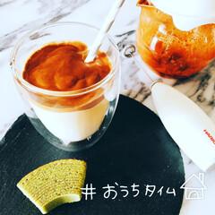 おうちタイム/おうちカフェ ダルゴナコーヒーと抹茶バウム♪
