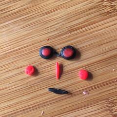 粘土遊び/顔/小麦粘土 ワークショップで余った小麦粘土。一人で黙…(3枚目)