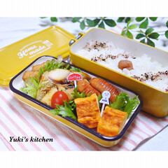 サブヒロモリ ミコノス タイトランチ 2段 イエロー | mykonos(弁当箱)を使ったクチコミ「・ 今日のおべん𐂐.·˖* ・ ✽焼き鯖…」