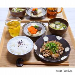 和食/器選び/器で食卓が変わる/器使い/器好き/器のある暮らし/... * お夕食 𐂐.·˖* * ❋ 豚肉の柚…