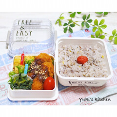正和 NATIVE HEART NH スクエア MCランチ FREE&EASY クリアホワイト 43-76428-2 お弁当箱(弁当箱)を使ったクチコミ「・ 今日のおべん𐂐.·˖* ・ ハムカツ…」