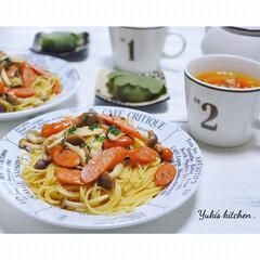 夕ごはん/夜ごはん/よるごはん/ミネストローネ/パスタ/Dinner/... * お夕食 𐂐.·˖* *  ウインナ…