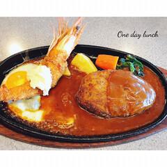 lunchtime/ランチタイム/料理/エビフライ/ハンバーグ/お昼ごはん/... * いつかのᏝϋиcҺ ゚+。:.゚ஐ♡…
