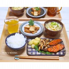 うつわ日和/和食/器選び/器で食卓が変わる/器使い/器好き/... * お夕食 𐂐.·˖* * ❋ 鮭としめ…