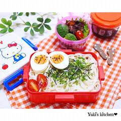 冷やしうどん/lunchbox/lunch/お弁当作り/お弁当のおかず/お弁当箱/... ・ 今日のおべん𐂐.·˖* ・ 冷やしう…