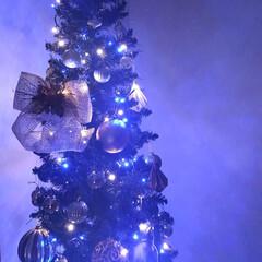 クリスマス/クリスマスツリー/ディスプレイ/インテリア/海外風インテリア ブルーライトで点灯 麻のリボンがお気に入り