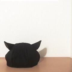 ハンドメイド 帽子/ファッション/手作り帽子 黒猫ベレー帽です🐱 黒のツイード生地と内…