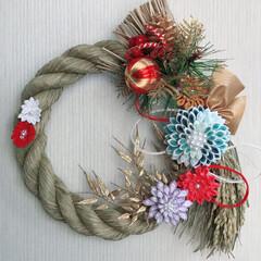 しめ飾り/手芸/ハンドメイド 今年のしめ飾り つまみ細工