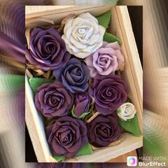 箱/薔薇🌹/樹脂粘土/ハンドメイド/ダイソー 作った薔薇🌹を箱詰めに 紫好きだなぁ〜