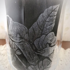 使えない/花瓶/グラスリッツェン/ハンドメイド/100均 お花を頂いたので ダイヤモンド針で削って…