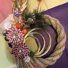 お正月/しめ飾り/水引/ハンドメイド/つまみ細工 お友達に頼まれて作ったしめ飾り 喜んでも…